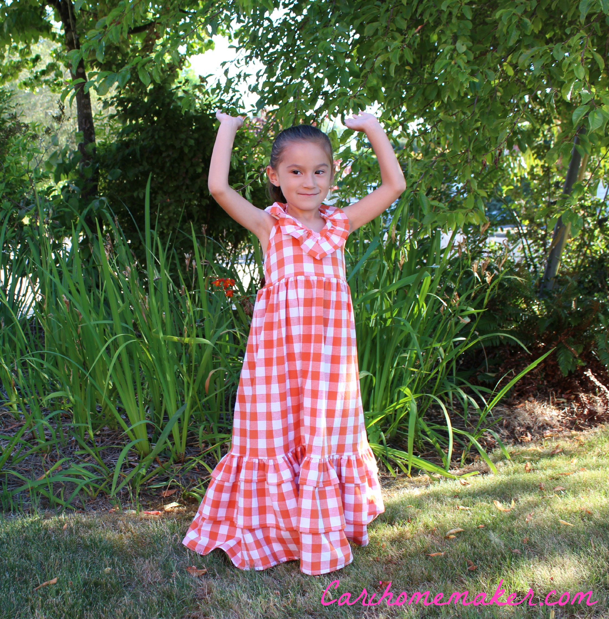 Orange Gingham Arms Up