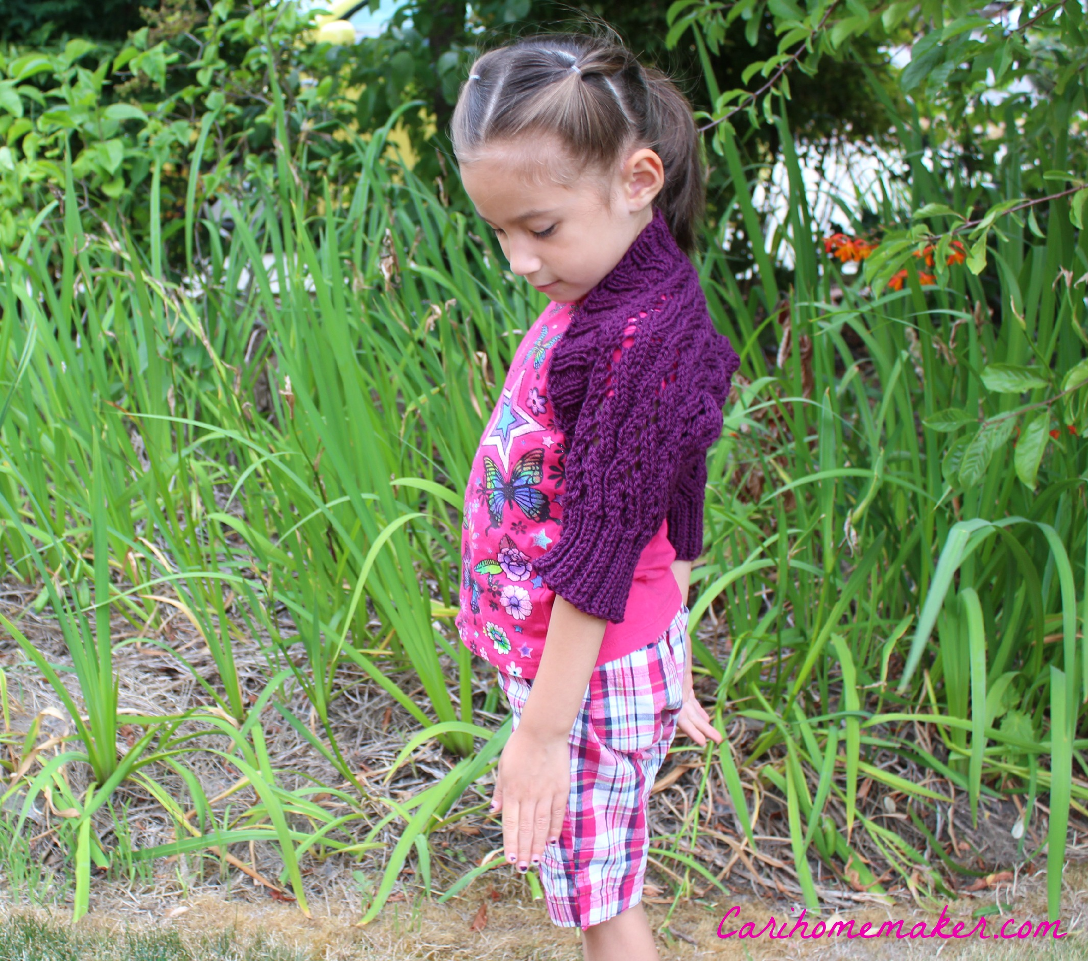 Purple Shrug Lacy Sleeve