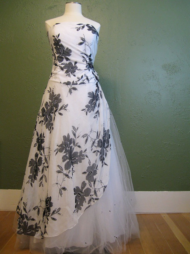 Black and white plus size gown found in a thrift store.