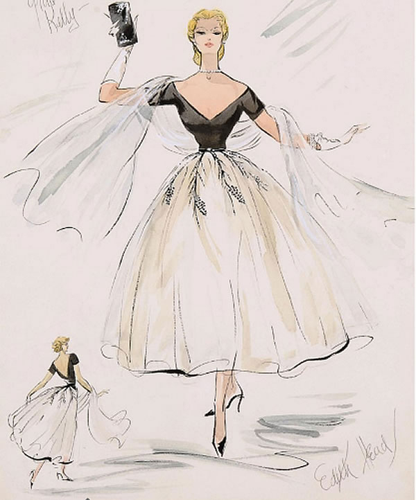 Edith Head sketch of Grace Kelly dress.