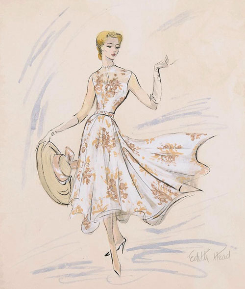 Sketch by Edith Head of floral day dress.