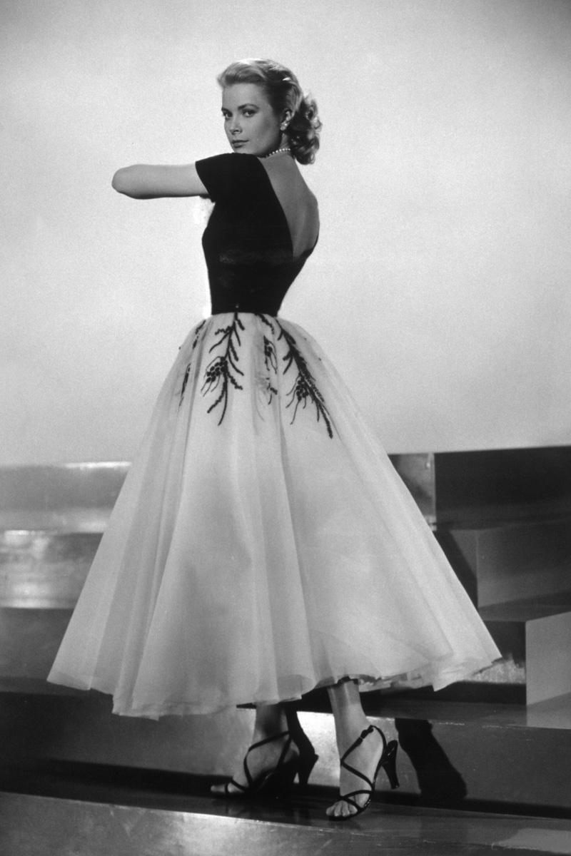 Still photo of Gracy Kelly in a dress from Rear Window.