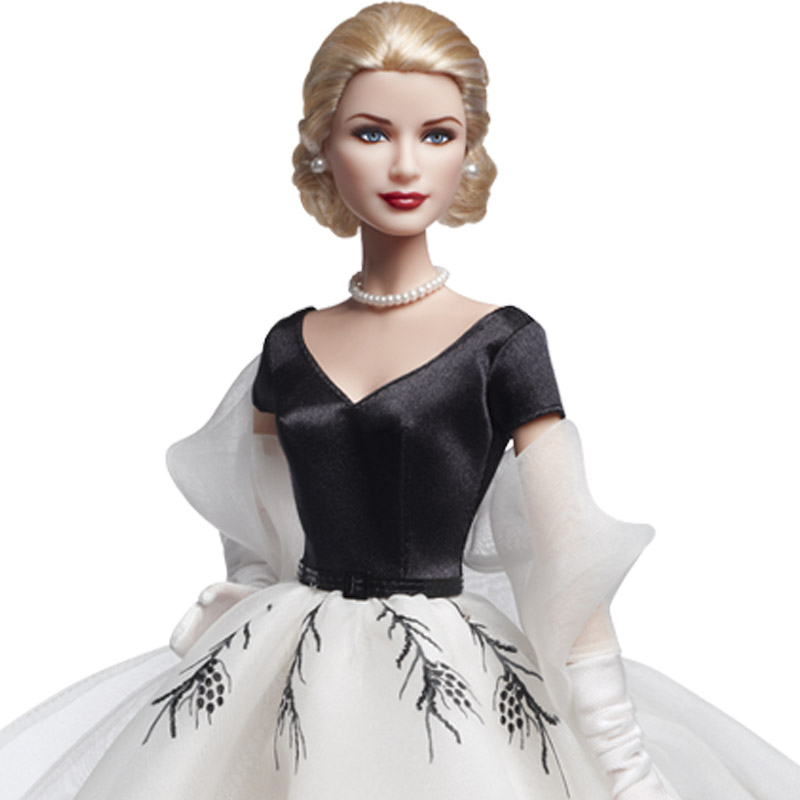 Grace Kelly Barbie doll in Rear Window dress