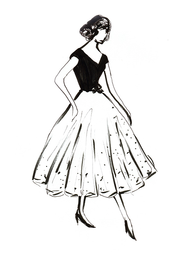 Rear Window dress concept sketch